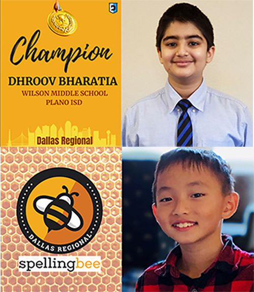 Dhroov Bharatia, at top, a seventh-grader at Wilson Middle School in Plano ISD, will advance to the National Scripps Spelling Bee as the Dallas Regional Spelling Bee Champion. Evan Fu, a fifth grade student at Skaggs Elementary in Plano ISD, earned third place in the Dallas Regional Spelling Bee.
