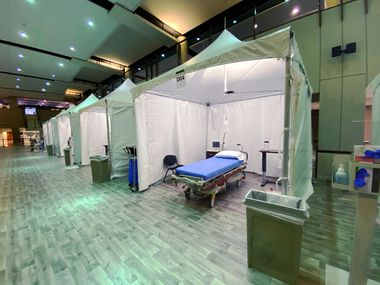 Texas Health Plano has set up emergency tents in its lobby to help treat patients amid an increased demand caused by the pandemic. The tents are used to treat patients who are not suspected of having COVID-19.
