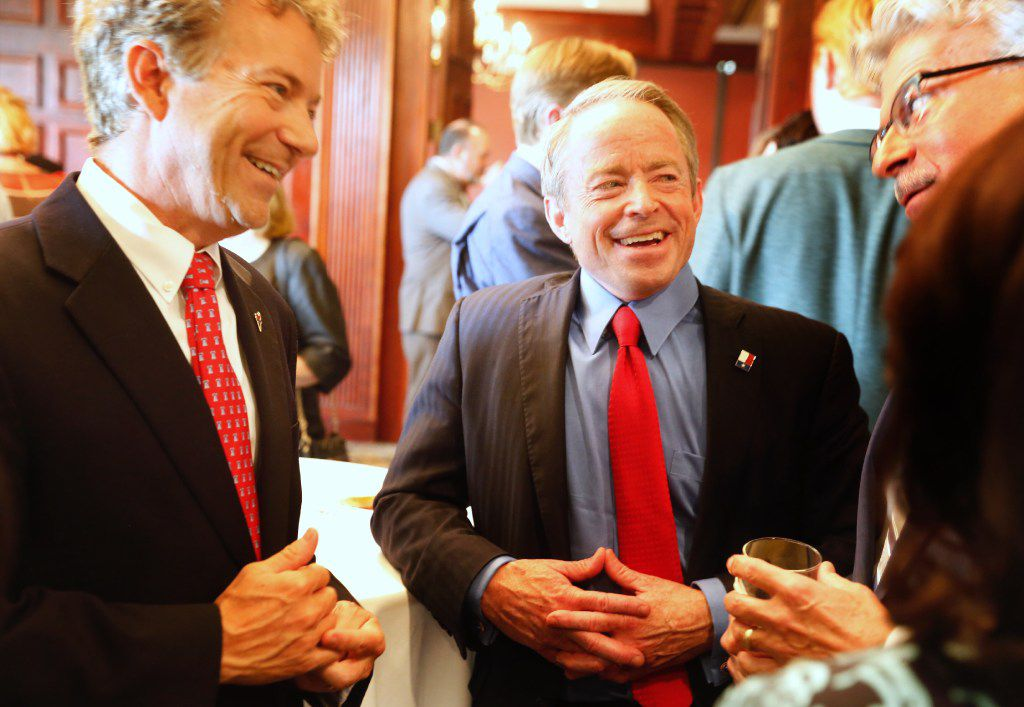 U.S. Sen. Rand Paul (left) and Texas Senate candidate Phillip Huffines mingle with the crowd at fundraiser for Huffines. Huffines is running for the District 8 seat that will be vacated by Van Taylor. The event was held at the Gleneagle Golf Club in Plano in June.