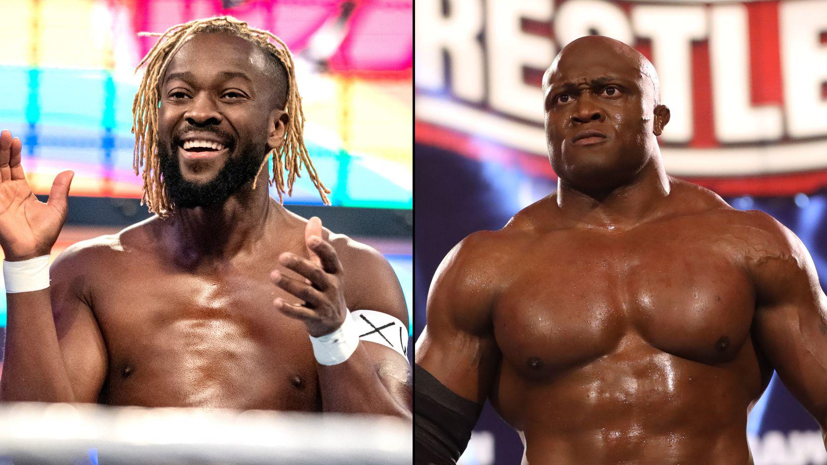 WWE superstars Kofi Kingston (left) and Bobby Lashley (right).