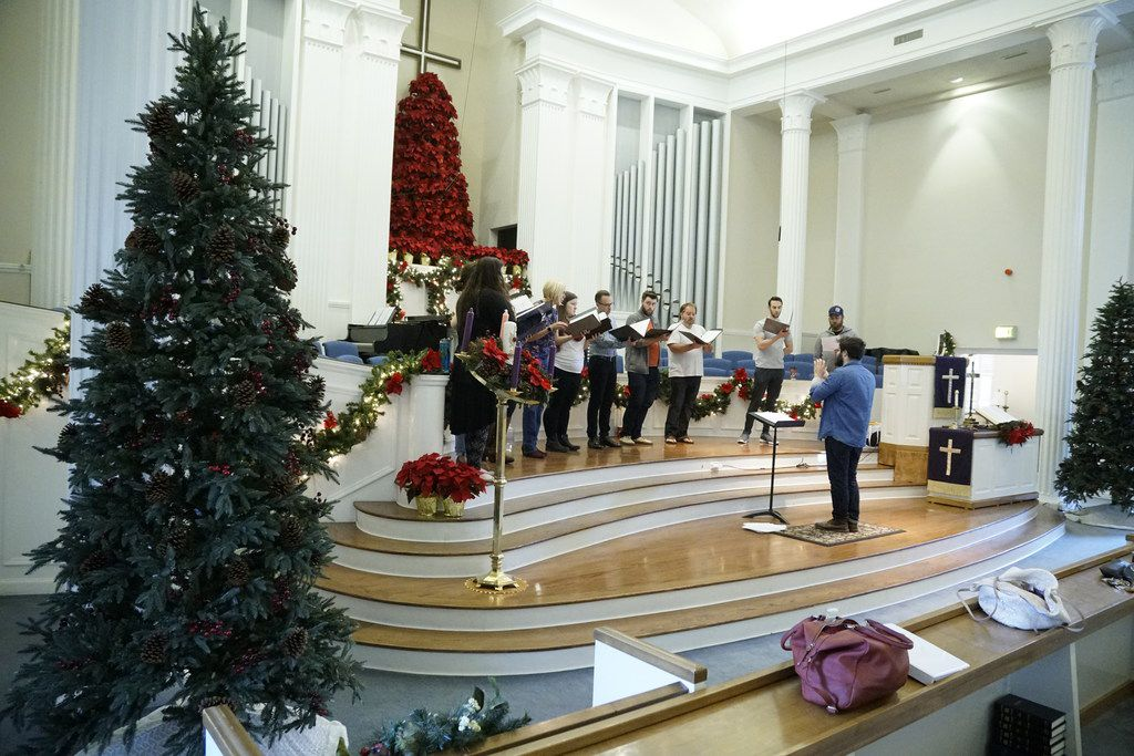 Verdigris rehearses at Royal Lane Baptist Church in Dallas on Dec. 2. The ensemble is preparing for its Christmas concert.