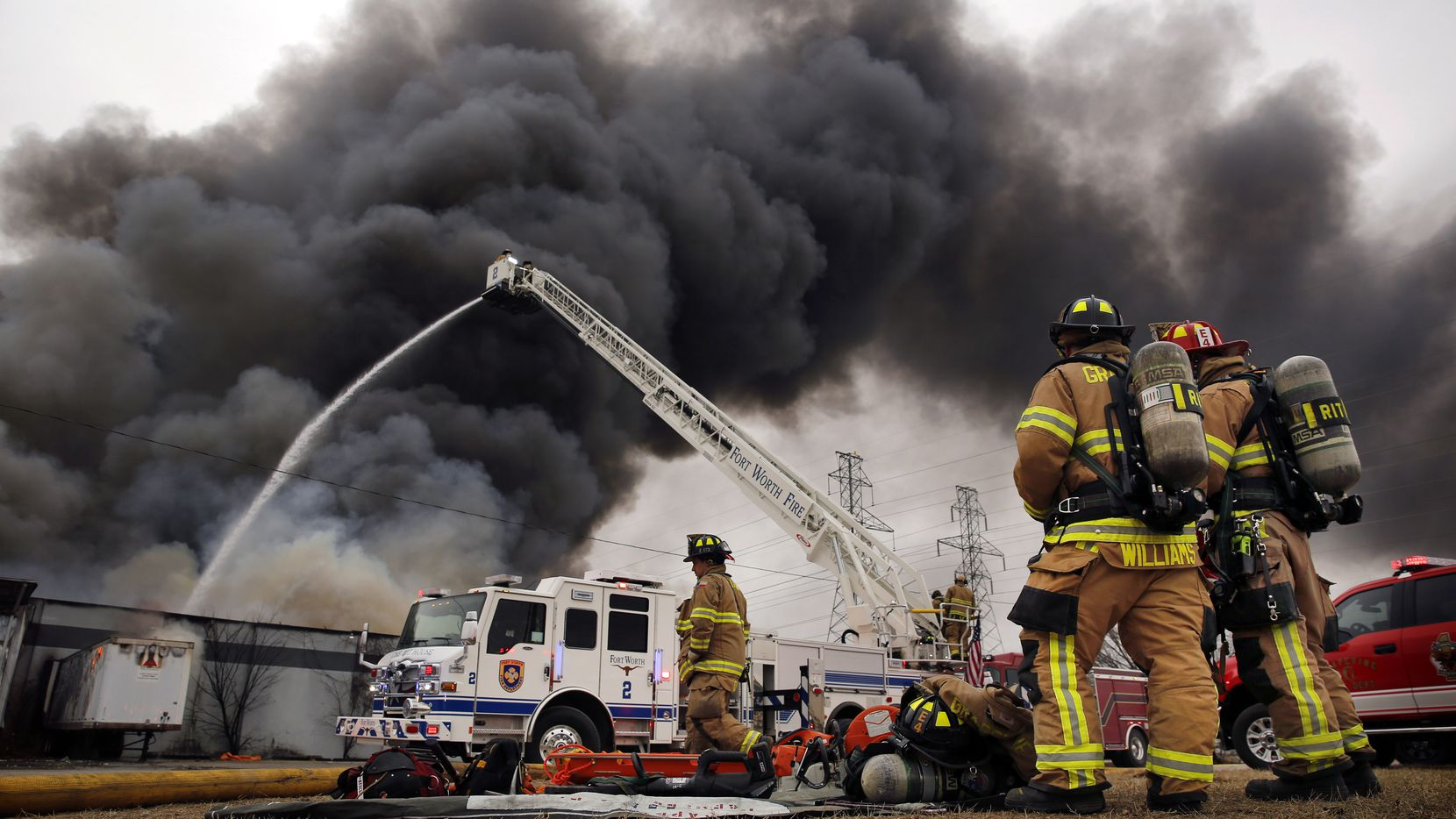 Fort Worth firefighters respond to a large 5-alarm fire at the Advanced Foam Recycling facility in Richland Hills.