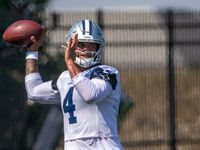 Dallas Cowboys quarterback Dak Prescott throws a pass during a practice at the Ford Center at The Star in Frisco, Texas on Monday, Sep. 2, 2019.