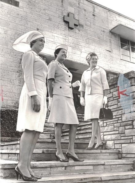 Photo of three Red Cross volunteers from Aug. 16, 1966.