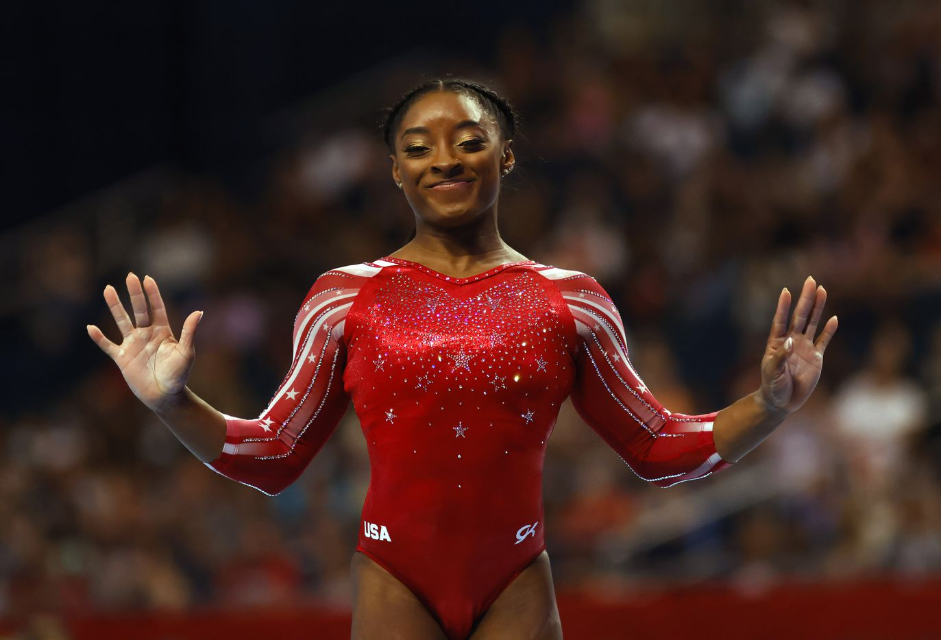 Simone Biles during her floor routine during day 2 of the women's 2021 U.S. Olympic Trials at The Dome at America's Center on Saturday, June 27, 2021 in St Louis, Missouri.