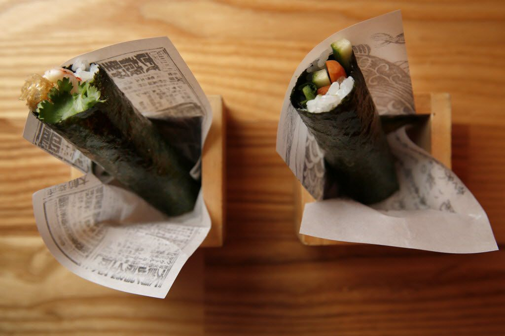Pickled shrimp hand roll (left) and veggie banh mi hand roll