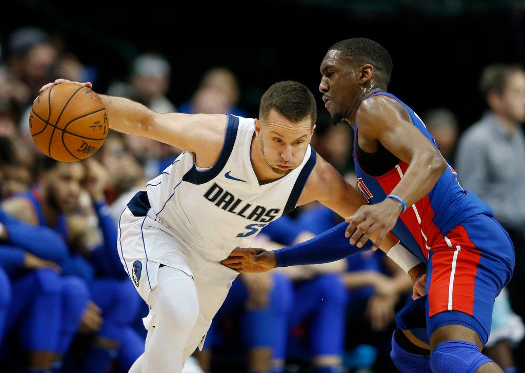 Dallas Mavericks guard J.J. Barea (5) drives on Detroit Pistons guard Langston Galloway (9) during the second half of play at American Airlines Center in Dallas on Wednesday, December 20, 2017. Dallas Mavericks defeated the Detroit Pistons 110-93. (Vernon Bryant/The Dallas Morning News)