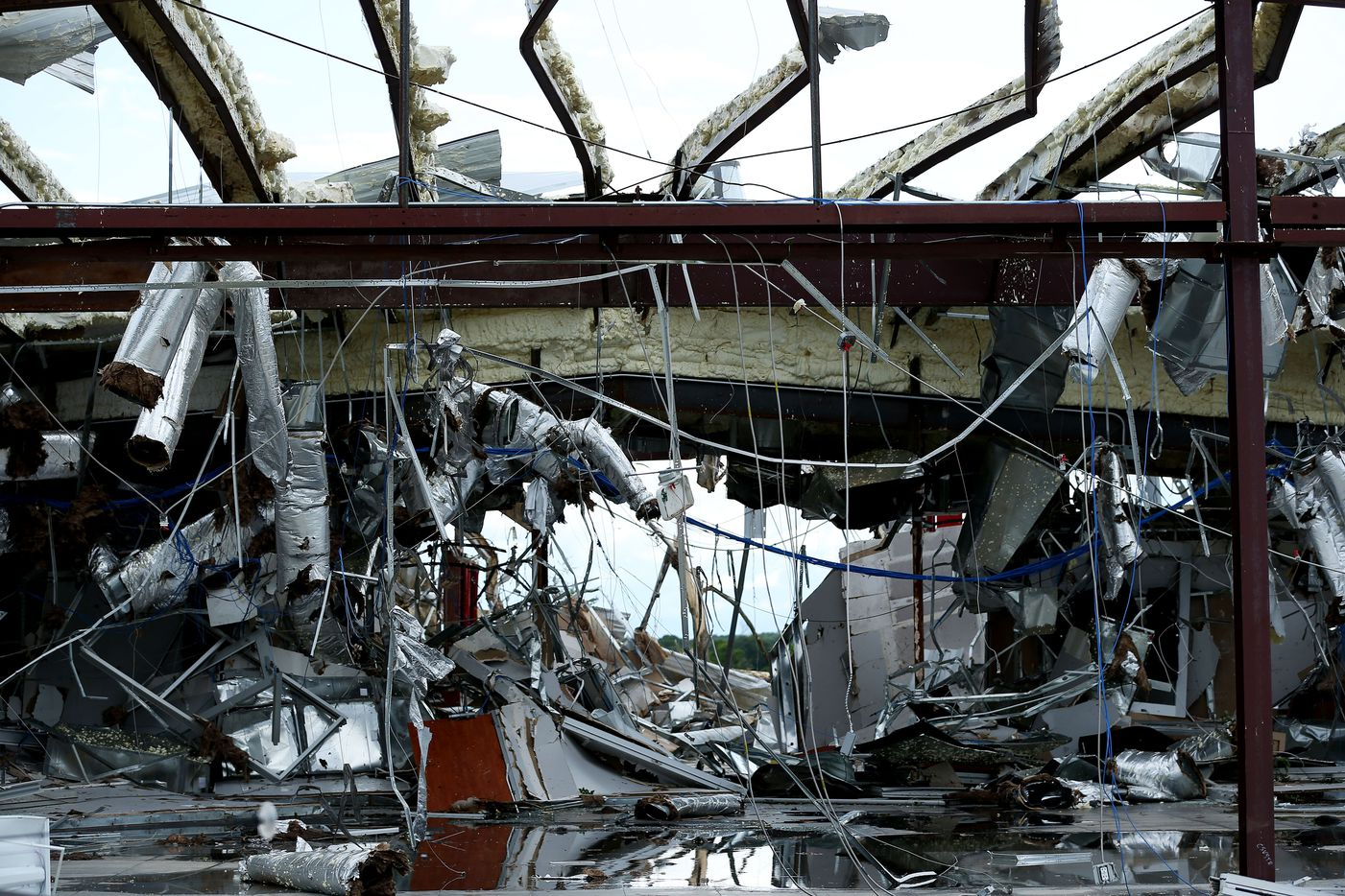 The interior of a Dodge dealership along Interstate 20 after a tornado impacted Canton, Texas on Sunday April 30, 2017. (Andy Jacobsohn/The Dallas Morning News)