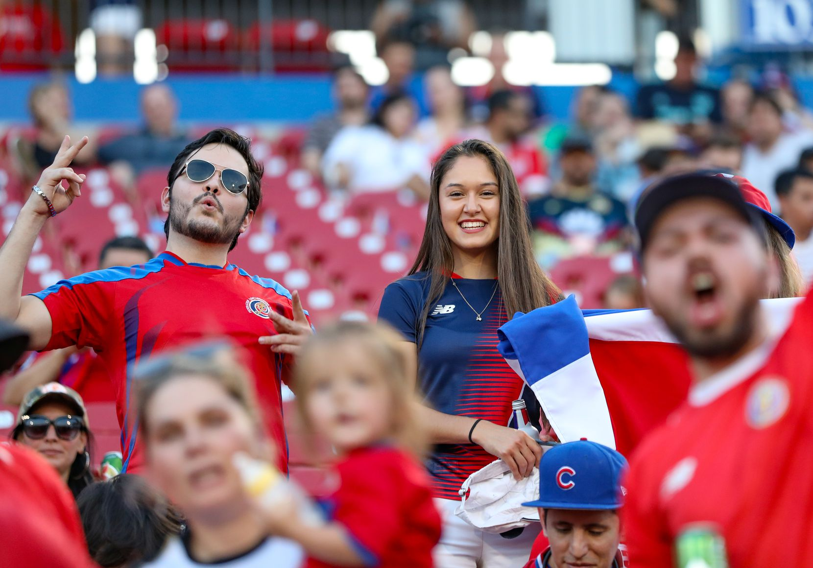 Costa Rica fans celebrate at the 2019 Gold Cup at Toyota Stadium. (6-20-19)