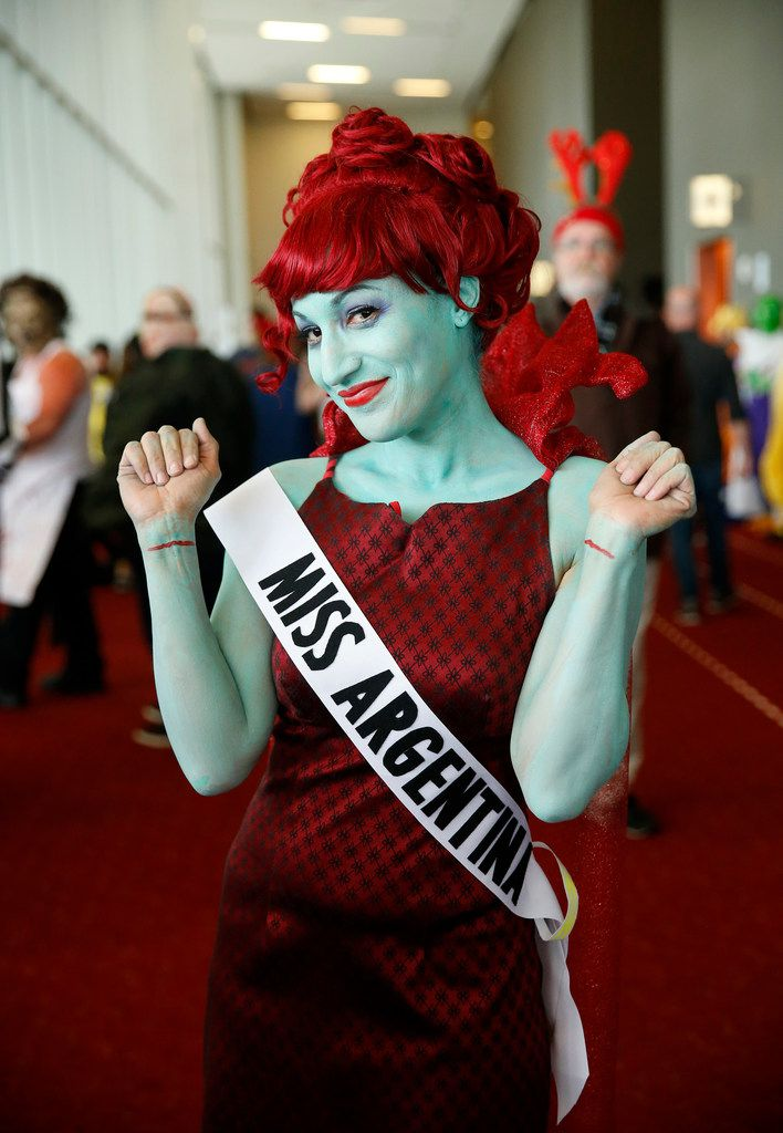Dressed as the character Miss Argentina from the movie Beetlejuice, Nicole Evans of Denton poses for a photo.