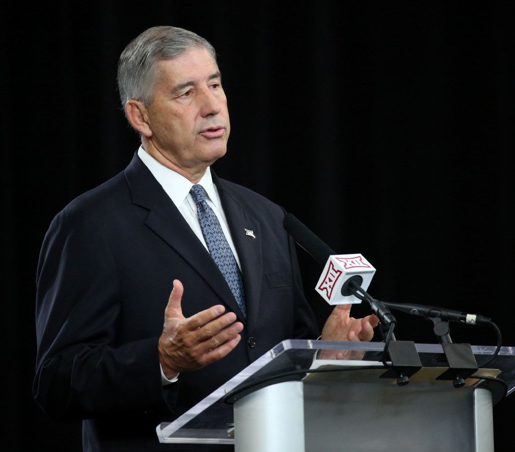 Big 12 Commissioner Bob Bowlsby speaks during Big 12 Football Media Days in the Ford Center at The Star in Frisco, Texas on Monday, July 17, 2017.