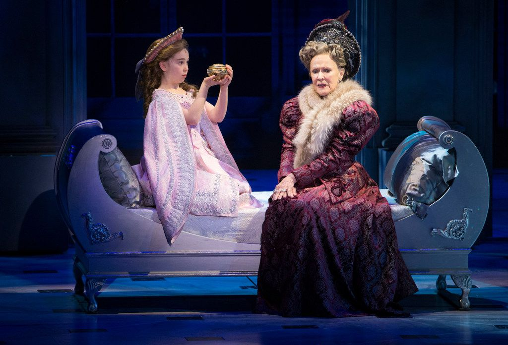 "From left, Little Anastasia, played by Victoria Bingham, and Dowager Empress, played by Joy Franz, perform at the Music Hall at Fair Park in Dallas on Feb. 19, 2019. They began the musical, which runs until March 3, with the prologue, ""Once Upon a December."""