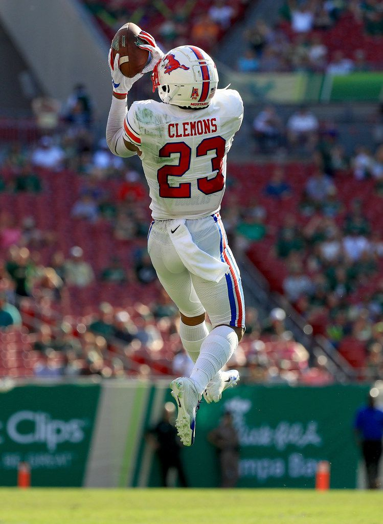 TAMPA, FLA - SEPT. 28: SMU safety Rodney Clemons (#23) intercepts a pass during a game against South Florida at Raymond James Stadium on Sept. 28, 2019, in Tampa, Fla.