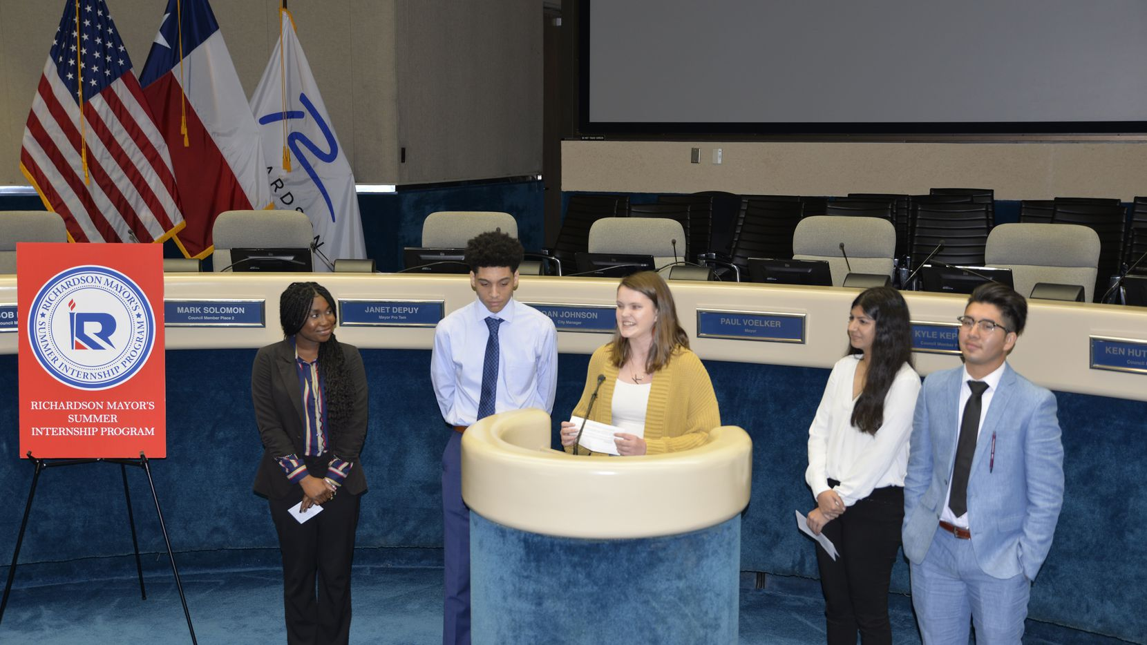 Students who participated in the Richardson Mayor's Summer Internship program in 2019 attended an event at the Richardson council chambers Tuesday, Feb. 11, 2020, to kick off the 2020 program.
