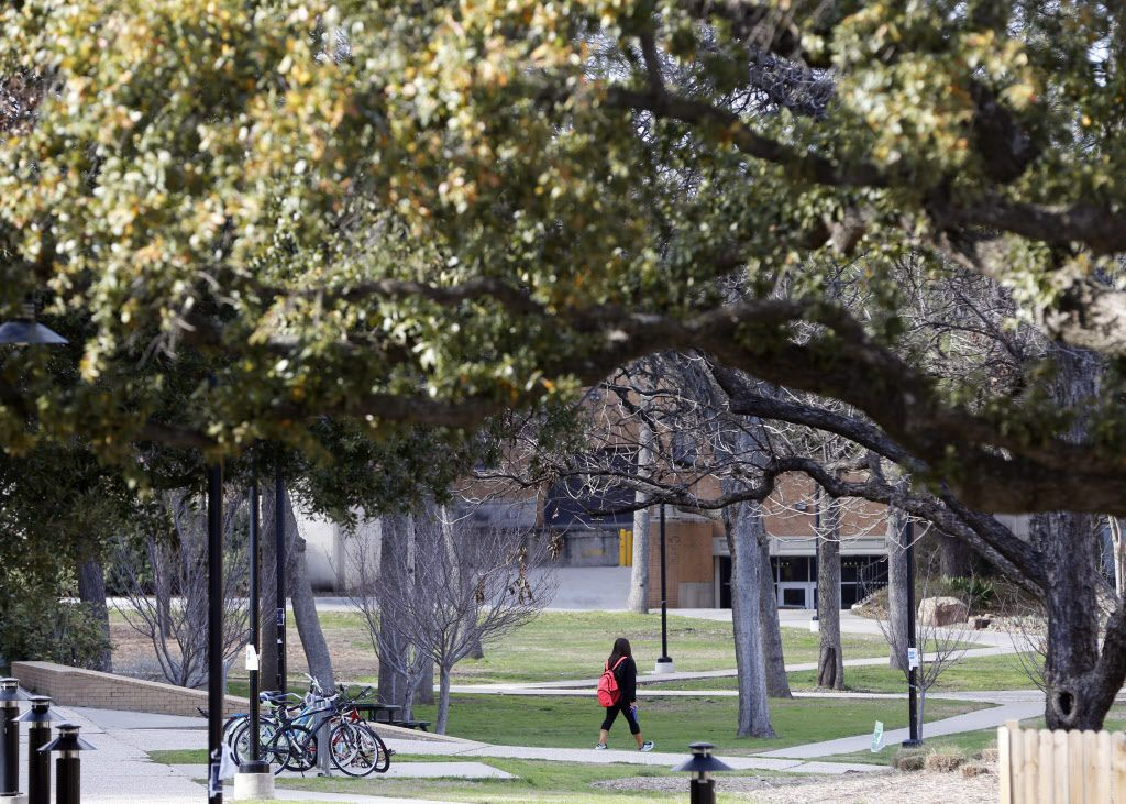 A student walks the campus at the UNT in Denton.