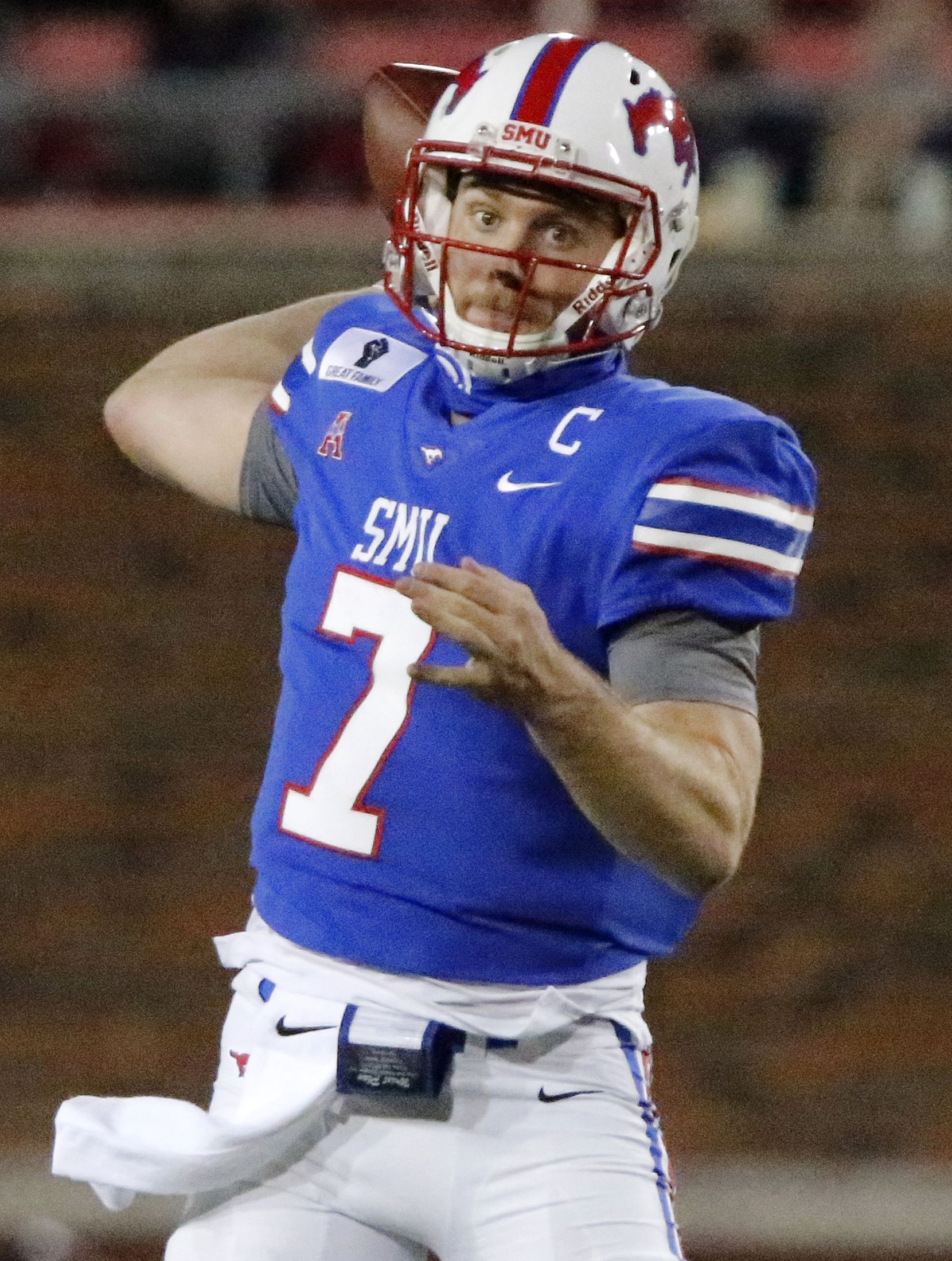 Southern Methodist Mustangs quarterback Shane Buechele (7) throws a pass during the first half as SMU hosted Cincinati University in an AAC football game at Ford Stadium in Dallas on Saturday night, October 24, 2020. (Stewart F. House/Special Contributor)