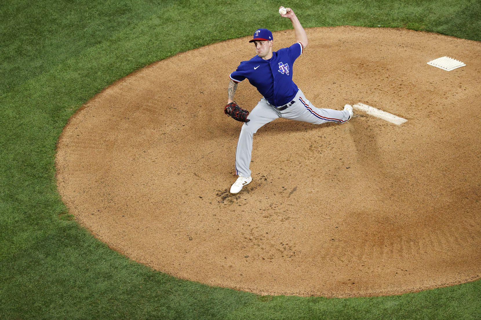 Texas Rangers starting pitcher Joe Palumbo throws during an intrasquad game at Summer Camp inside Globe Life Field in Arlington, Texas, Friday, July 10, 2020. (Tom Fox/The Dallas Morning News)