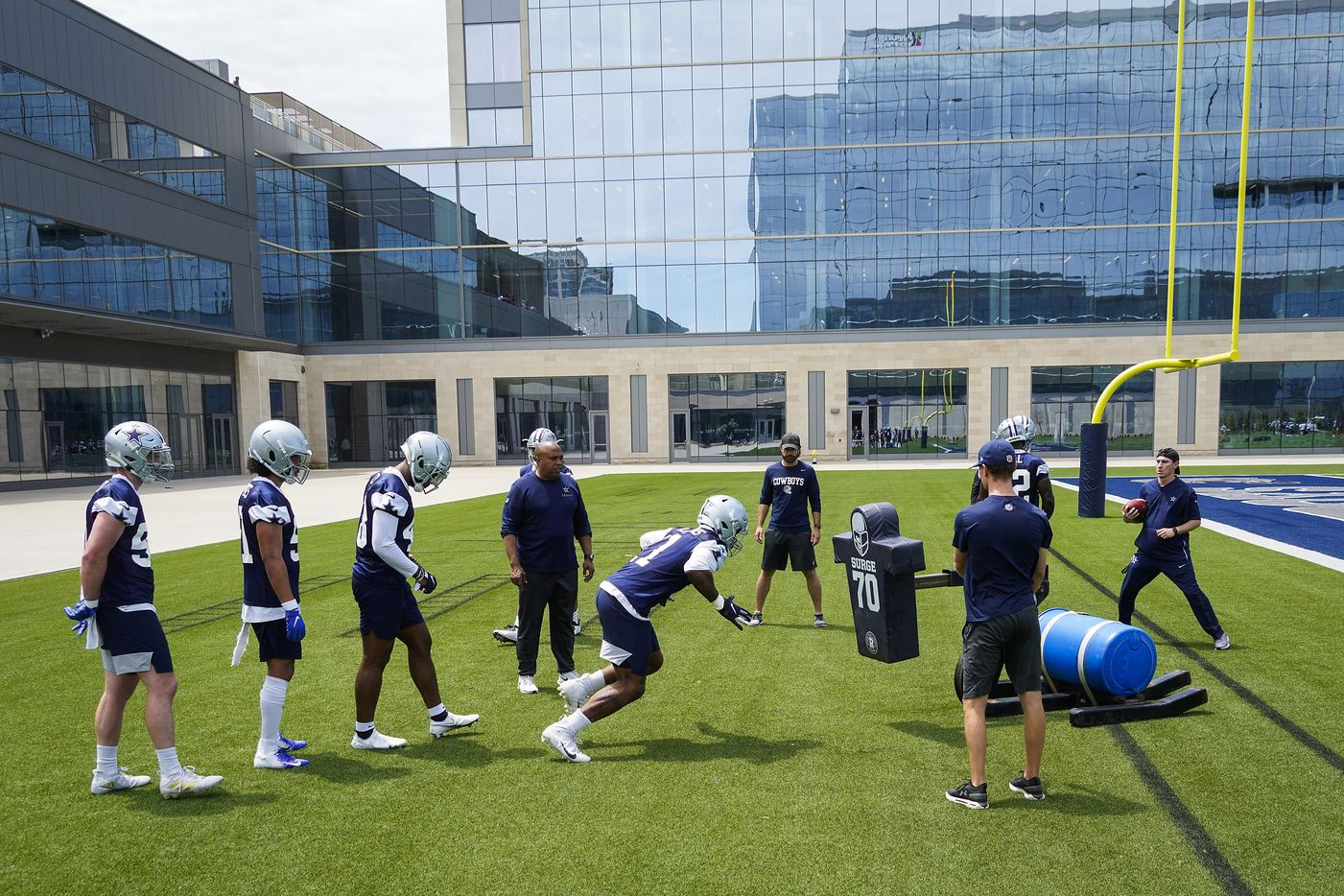 Dallas Cowboys linebacker Micah Parsons (11) runs a drill during a minicamp practice at The Star on Tuesday, June 8, 2021, in Frisco. (Smiley N. Pool/The Dallas Morning News)