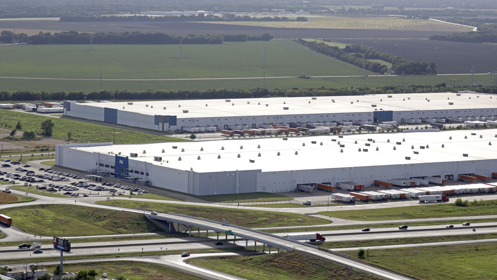 The Procter & Gamble distribution center, front, and the Whirlpool shipping hub, behind, have both recently sold.