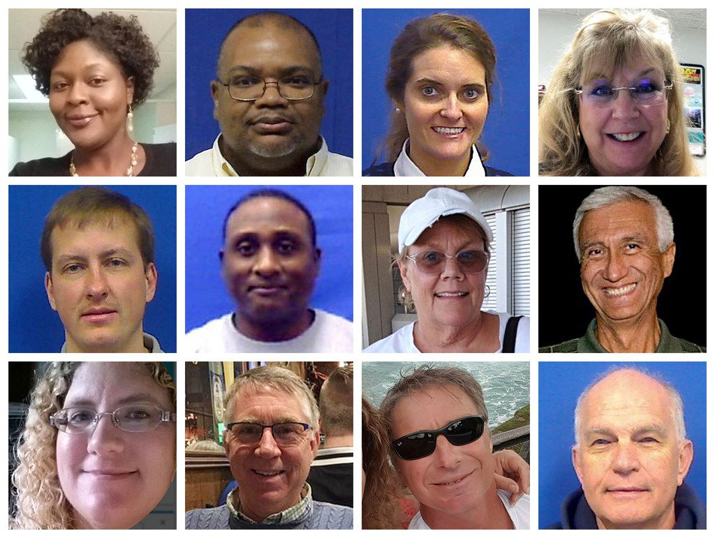 """This combination of photos provided by the City of Virginia Beach on Saturday, June 1, 2019 shows victims of Friday's shooting at a municipal building in Virginia Beach, Va. Top row from left are Laquita C. Brown, Ryan Keith Cox, Tara Welch Gallagher and Mary Louise Gayle. Middle row from left are Alexander Mikhail Gusev, Joshua A. Hardy, Michelle """"Missy"""" Langer and Richard H. Nettleton. Bottom row from left are Katherine A. Nixon, Christopher Kelly Rapp, Herbert """"Bert"""" Snelling and Robert """"Bobby"""" Williams. (Courtesy City of Virginia Beach via AP)"""