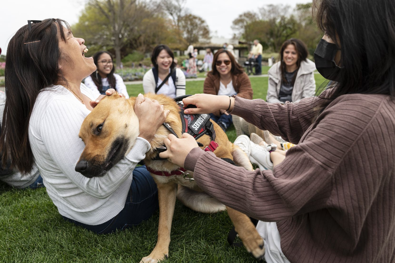 Janette Ritual, left, and Danielle Morales, both of San Antonio, play with a dog named Kenai as they enjoyed visiting with family for the Easter weekend at the Dallas Arboretum, on Saturday, April 03, 2021 in Dallas.