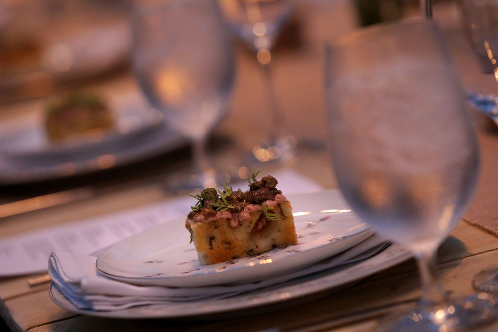 Herbed focaccia served during the Dinner in the Greenhouse at Profound Microfarms