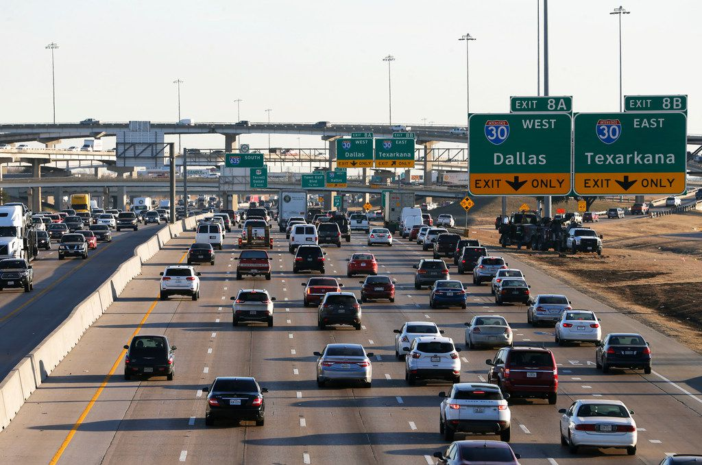 LBJ Freeway traffic heading eastbound towards I-30 near the Galloway Avenue intersection in Mesquite. A $1.8 billion project to improve LBJ Freeway from Central to I-30 may go before the Texas Transportation Commission in Austin later this month. The commission passed on the project in January. (Vernon Bryant/The Dallas Morning News)
