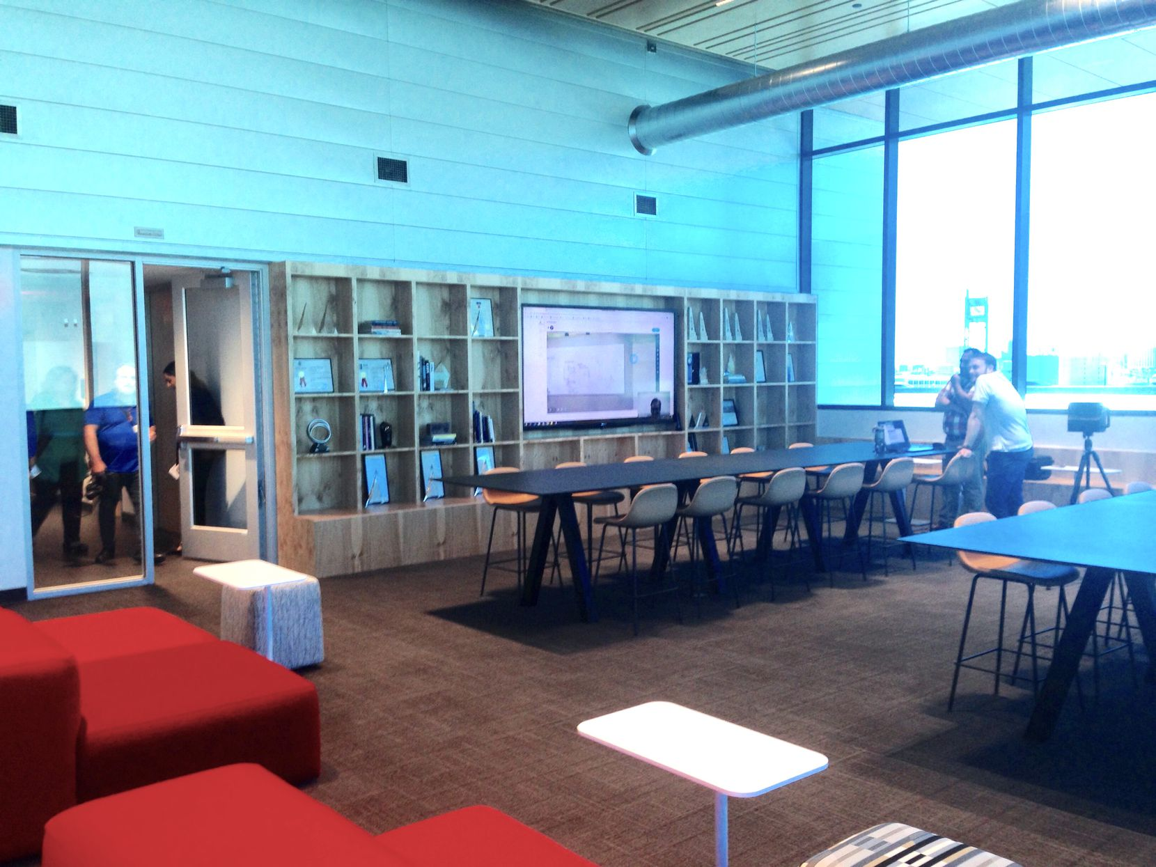 Corgan's lounge area in the new Luminary building in downtown Dallas.