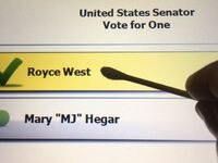 The names of U.S. Senate contenders MJ Hegar and Royce West were atop Democrats' runoff ballots Tuesday. After the coronavirus pandemic struck, Hegar and West had to retrofit their campaign and fundraising activities to a virtual arena. The winner faces Republican Sen. John Cornyn in the fall.
