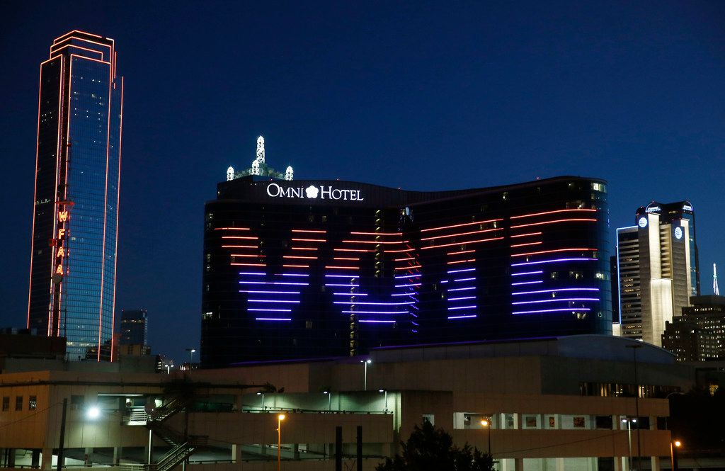 """""""Vote"""" is displayed on the Omni hotel in Dallas on election day, Tuesday, Nov. 6, 2018."""