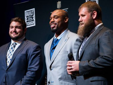 Dallas Cowboys offensive linemen Zack Martin, Tyron Smith and Travis Frederick speak to media after winning the Built Ford Tough Offensive Line of the Year award at the NFL Honors event at the Wortham Theater Center on Friday, February 4, 2017 in Houston. The event is in advance of Super Bowl LI.