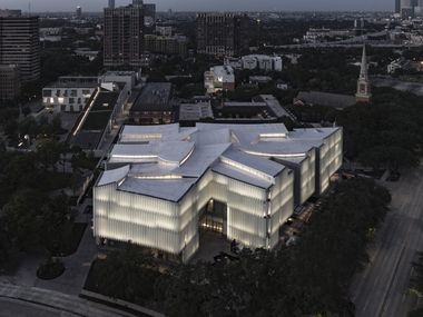An aerial photo shows the new Nancy and Rich Kinder Building of the Museum of Fine Arts, Houston.