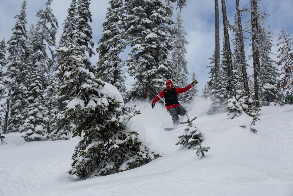 Skiing the broad powder bowls in the backcountry of Montana s Stillwater State Forest