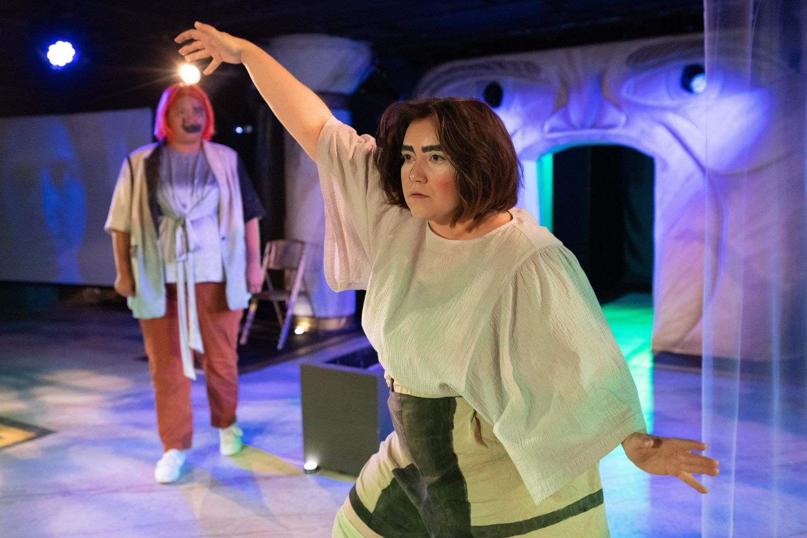 """Celeste Perez, right, as Choriko, frequently undulates from the hips in """"Stronger Than Arms,"""" as if she knows something we don't."""