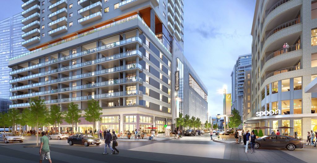 A 700-seat cinema, apartment tower and garage are going up in Dallas  Victory Park development near downtown.