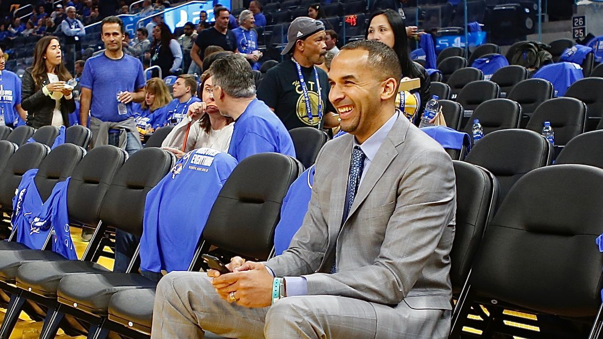 Nico Harrison of Nike takes in pregame between the LA Clippers and the Golden State Warriors on October 24, 2019, at the Chase Center in San Francisco, California. (Photo by Jim Poorten/NBAE via Getty Images)