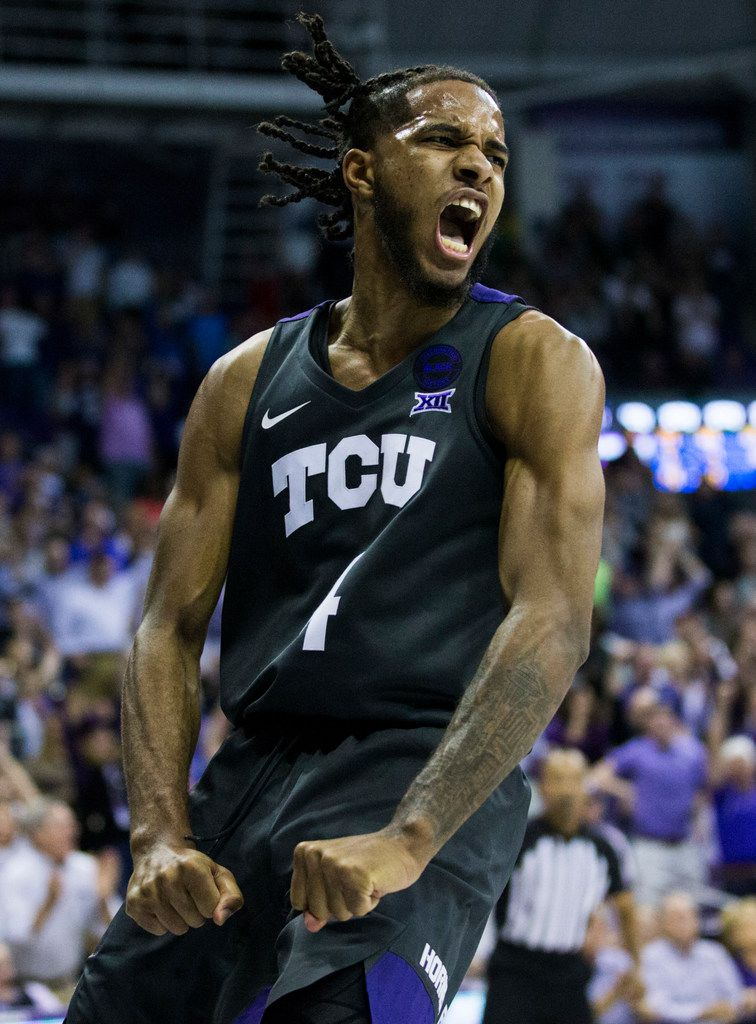 TCU Horned Frogs guard PJ Fuller (4) reacts after a dunk during the second half of an NCAA mens basketball game between Baylor and TCU on Saturday, February 29, 2020 at Ed & Rae Schollmaier Arena on the TCU campus in Fort Worth. (Ashley Landis/The Dallas Morning News)