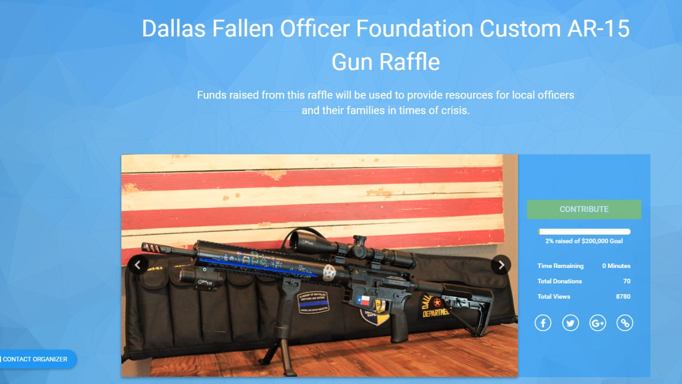 A screenshot of the website for a custom-made AR-15 gun raffle that Mark Fredde organized to benefit the Dallas Fallen Officer Foundation.