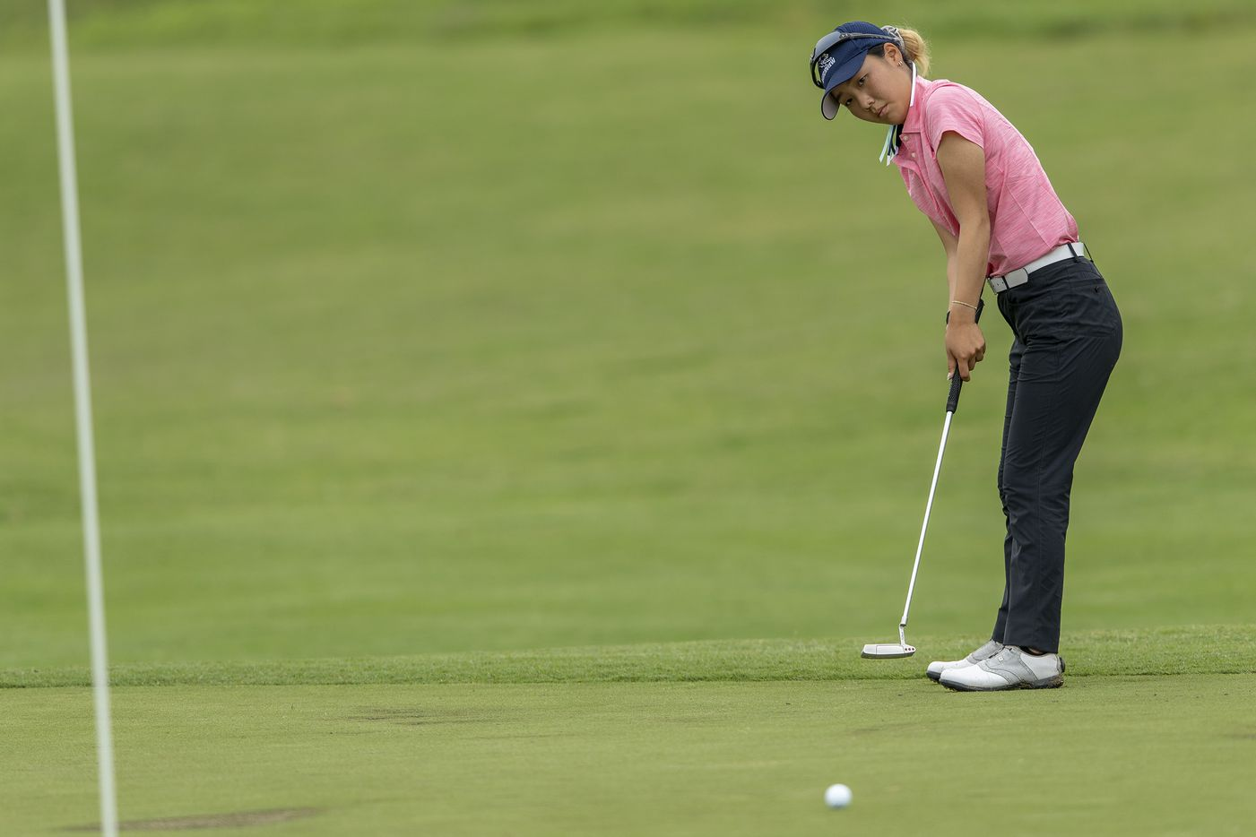 Carrollton Ranchview's Bohyun Park putts on the 10th green box during the final day of the UIL Class 4A girls golf tournament in Kyle, Tuesday, May 11, 2021. (Stephen Spillman/Special Contributor)
