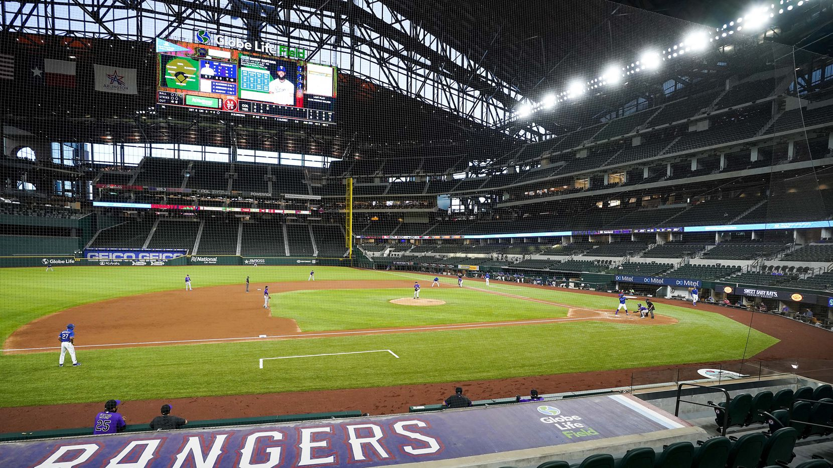 Texas Rangers outfielder Danny Santana bats during the second inning of an exhibition game against the Colorado Rockies at Globe Life Field on Tuesday, July 21, 2020.