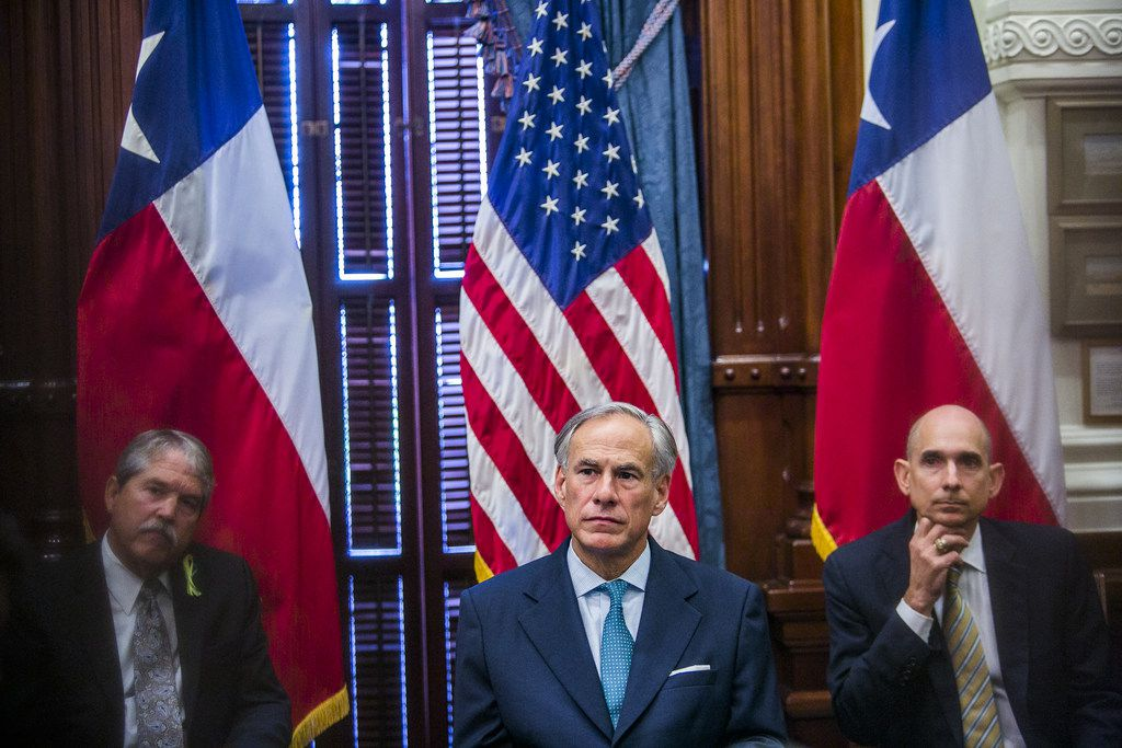 Texas Gov. Greg Abbott held a roundtable discussion with victims, family, and friends affected by the Santa Fe, Texas school shooting at the Capitol on May 24, 2018 in Austin, Texas. Representatives from Sutherland Springs, Alpine, and Killeen were also invited.