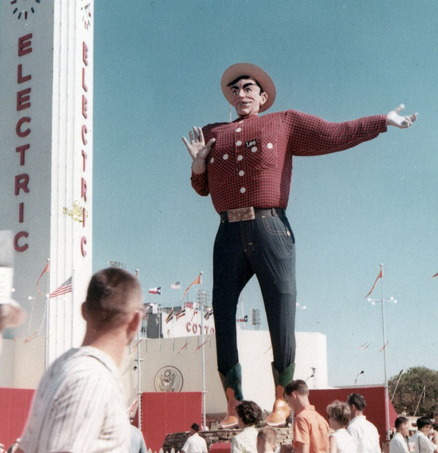 Big Tex at the State Fair of Texas in 1965. Notice his LBJ-style hat, which was much smaller than the 75-gallon cowboy hat he wears today.