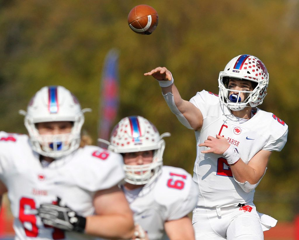Parish Episcopal's Preston Stone (2) attempts a pass in a game against Plano John Paul II during the first half of play at the TAPPS Division I state championship game at Waco Midway's Panther Stadium in Hewitt, Texas on Friday, December 6, 2019. (Vernon Bryant/The Dallas Morning News)