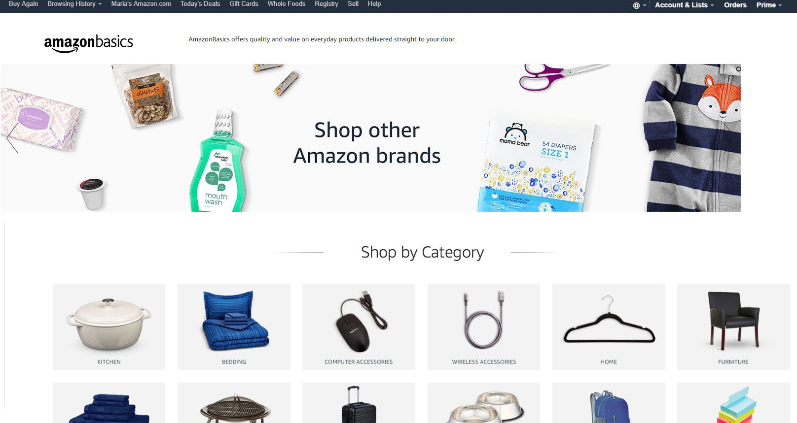 Amazon's own private label brands are sold across several categories.