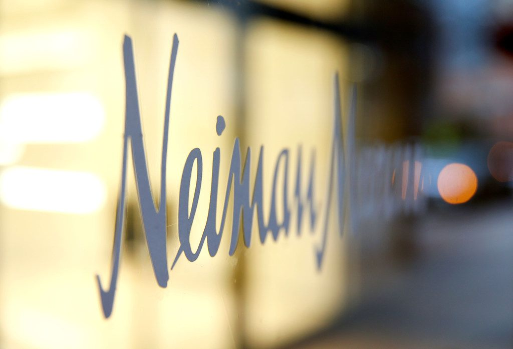 A sign of Neiman Marcus on the store windows in Dallas.