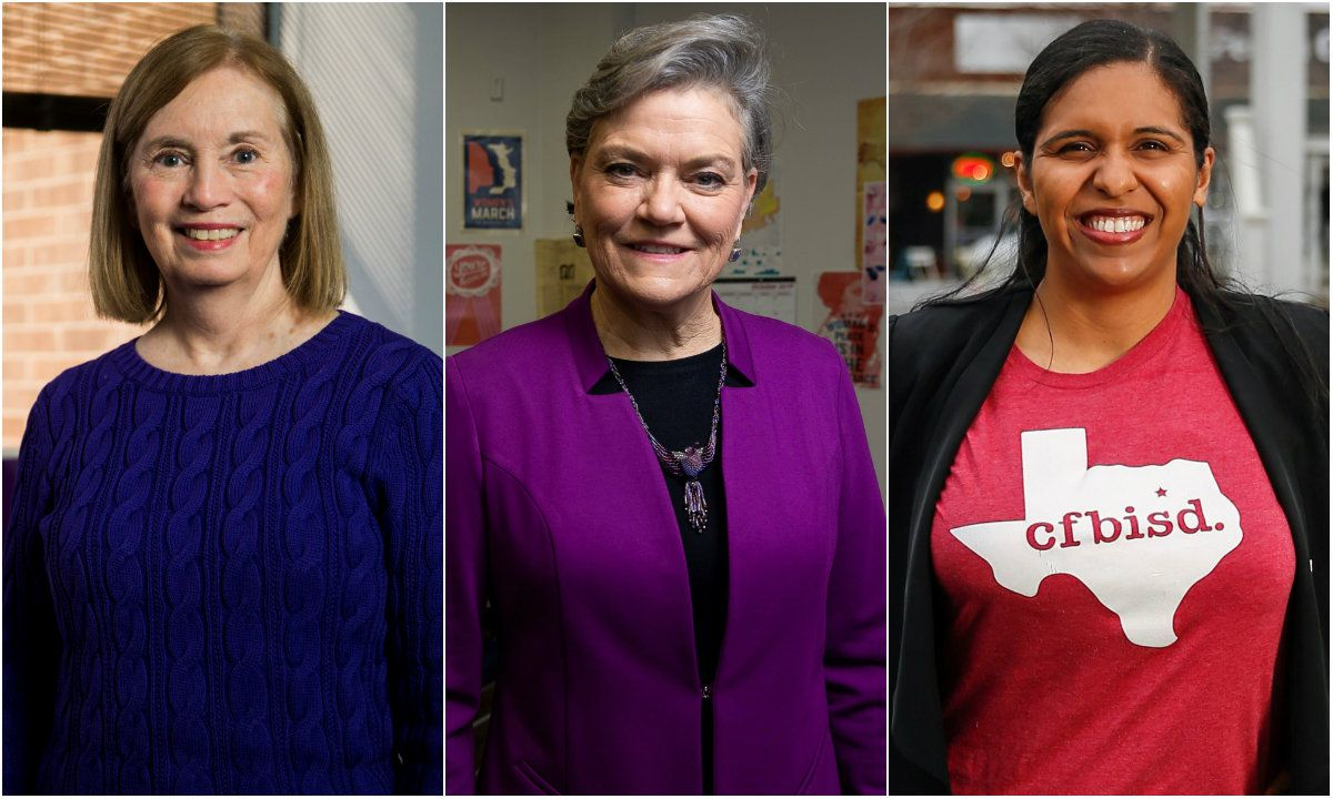 Some of the candidates in Texas' March 3, 2020, Democratic primary for Congressional District 24 (from left): Jan McDowell, Kim Olson and Candace Valenzuela.