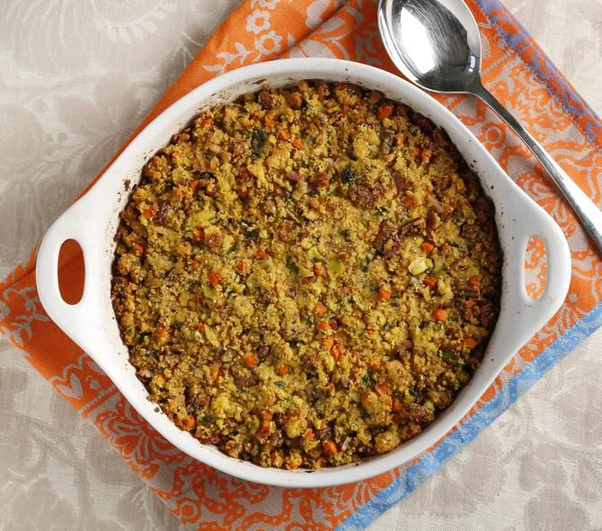 The dressing includes bacon drippings and can be prepared today and baked tomorrow.