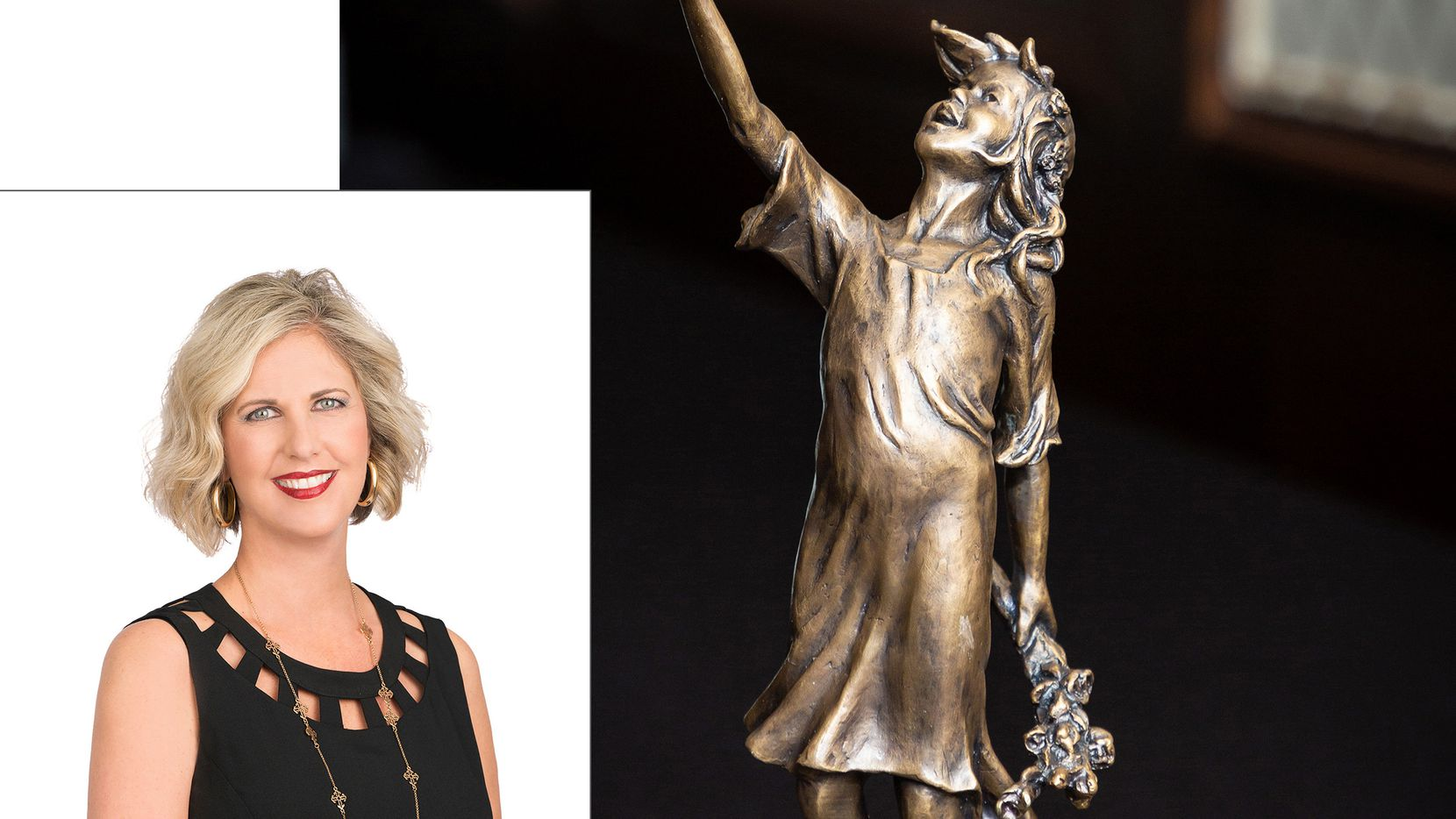 """Each year the Callan Harrison Spirit Award, symbolized by the """"Girl of Peace"""" statue, recognizes an Allman team member (Wynne Moore, inset) who has overcome a great challenge."""