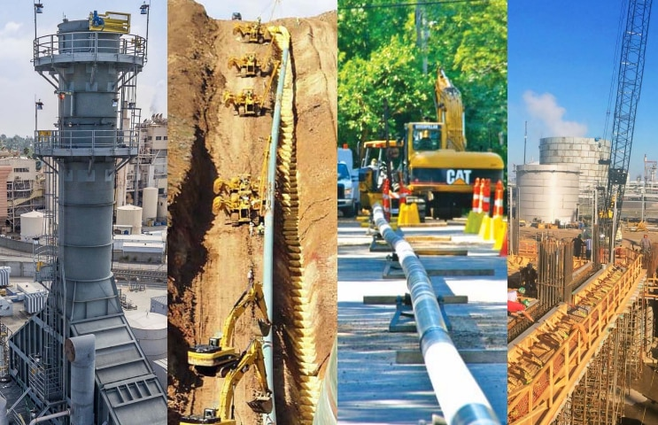Specialty construction firm Primoris is especially active in building pipelines and facilities for the energy industry. This image from its most recent investor presentation gives a sampling of its projects.