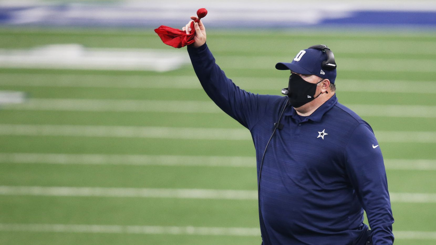 Dallas Cowboys head coach Mike McCarthy challenges the spot of the ball on a run play in a game against the Atlanta Falcons in the second half of play at AT&T Stadium in Arlington, Texas on Sunday, September 20, 2020. Dallas Cowboys defeated the Atlanta Falcons 40-39.
